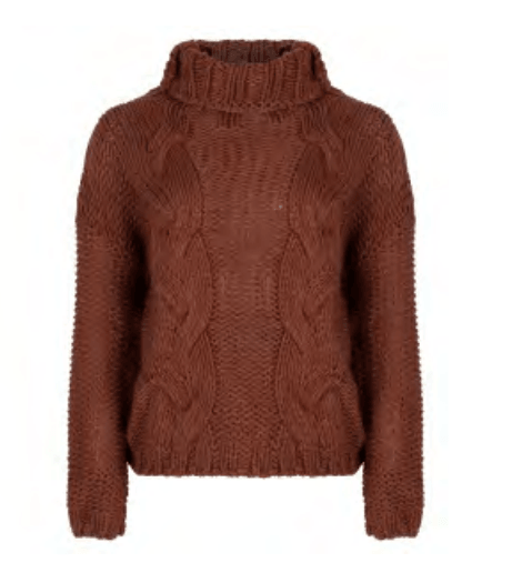 Esqualo sweater boxy cables chocolate