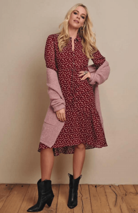 Esqualo long cardigan with pockets mauve