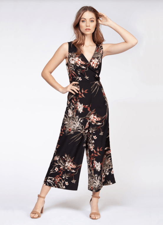 Dex Sleeveless Culotte Leg Jumpsuit - black/cayenne tropical