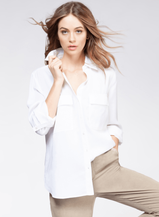 DEX long sleeve 2 pocket tencel blouse - white wash