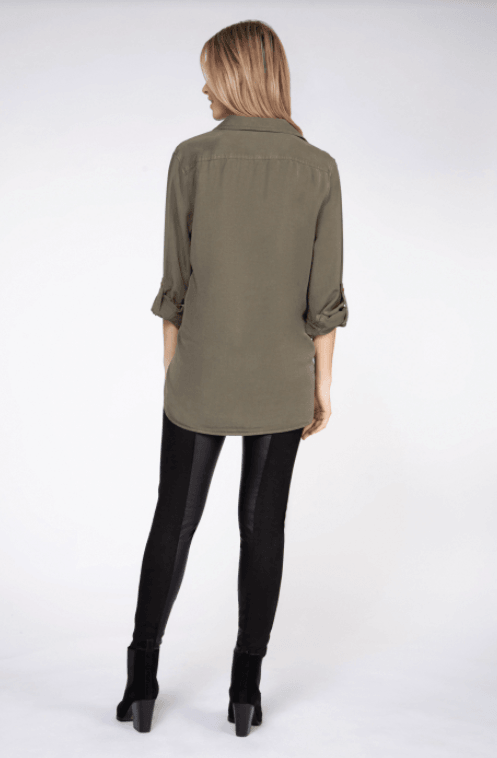 Dex long sleeve 2 pocket blouse - khaki wash