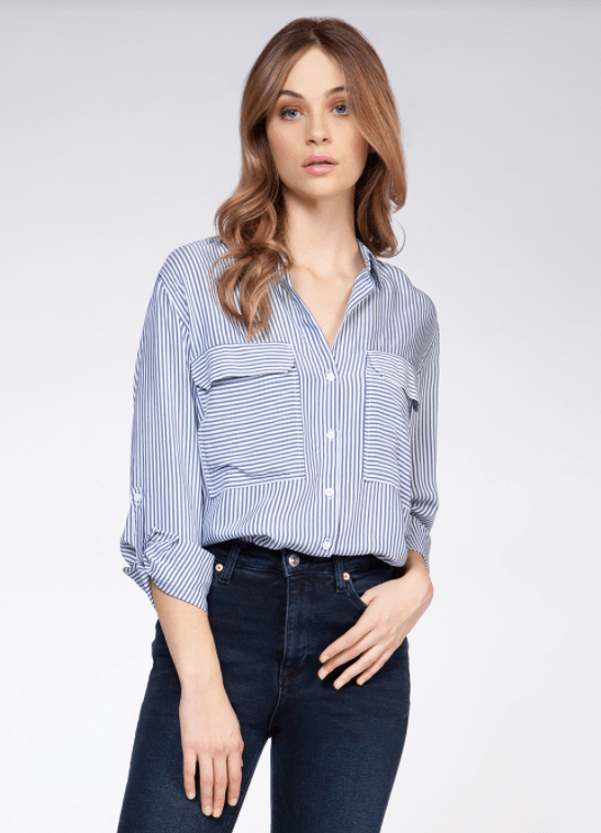 Dex long sleeve roll tab 2 pocket blouse - blue and white stripe