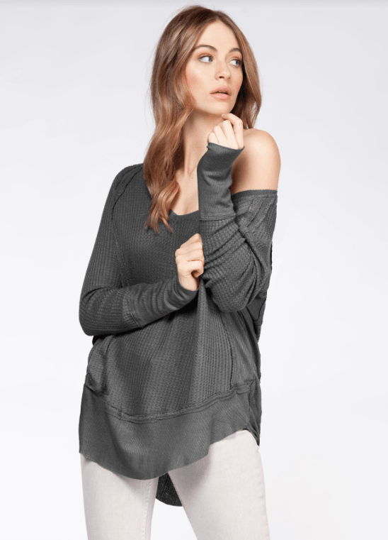 Dex long sleeve wide scoop neck top ribbed cuff and hem - heather grey