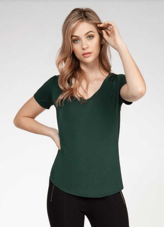 Dex V-Neck T-Shirt - hunter green