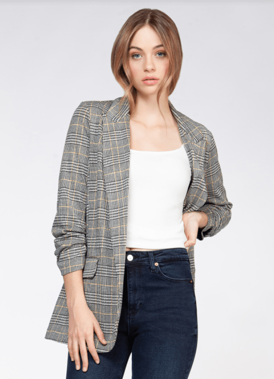 Dex ruched sleeve blazer with pocket - black dijon check