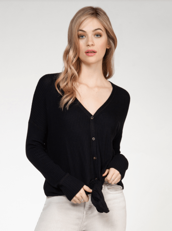 Dex long sleeve v-neck button down top