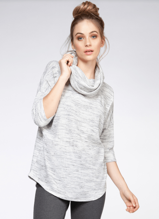 Dex 3/4 Sleeve Cowl Neck Knit Top - Marble Heather