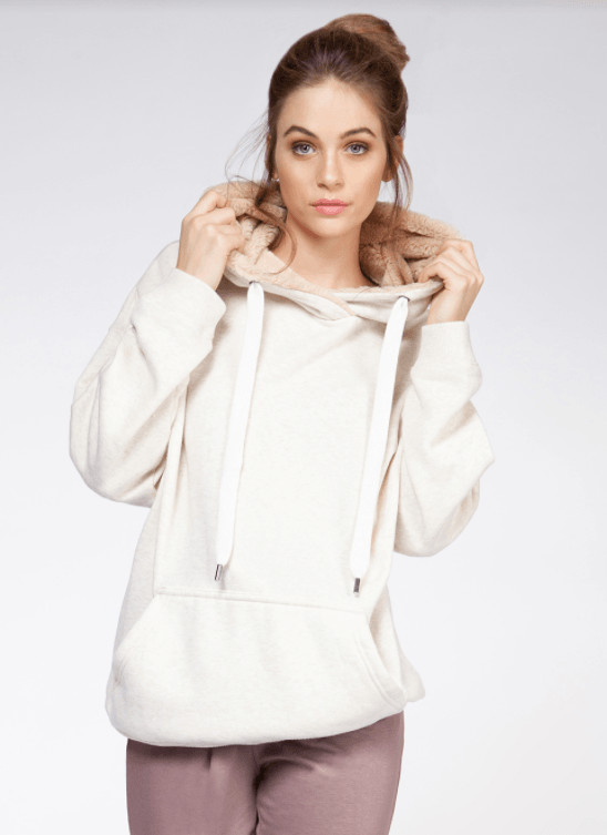 Dex long sleeve hoodie w/ faux fur lining - liner heather