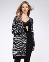 Dex Long Sleeve Open Cardigan - Black/White Zebra