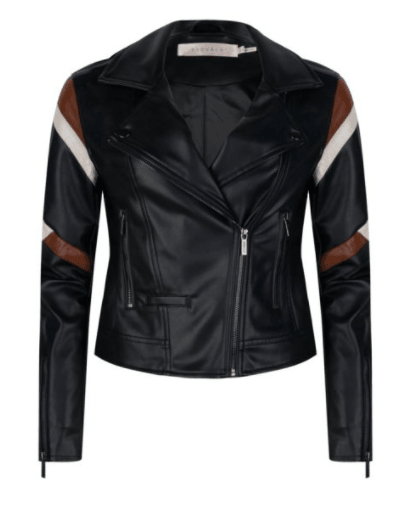 Esqualo PU lines jacket black brown