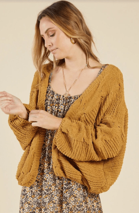 Sadie & Sage golden brown cabin life cardigan