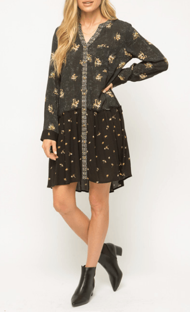Mystree Flowy layered mix printed dress - black multi