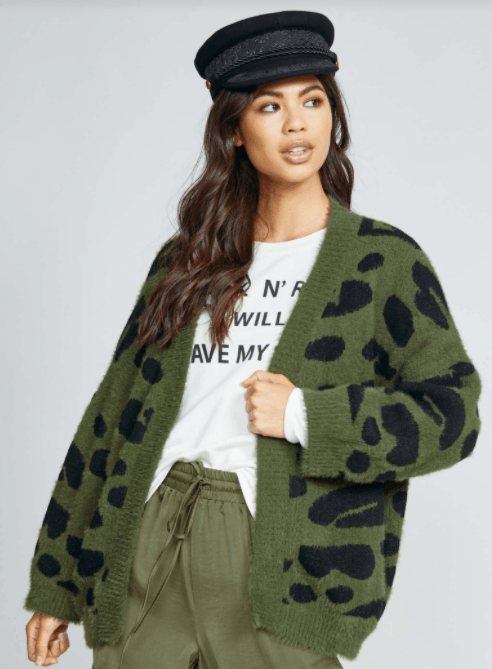 Sadie & Sage All Eyes Cardi - Olive