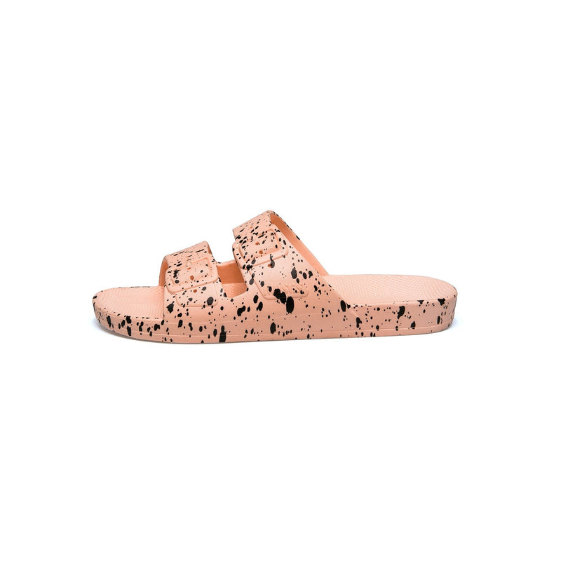 Freedom Moses BABY SPLATTER Black splash print on Pink slides