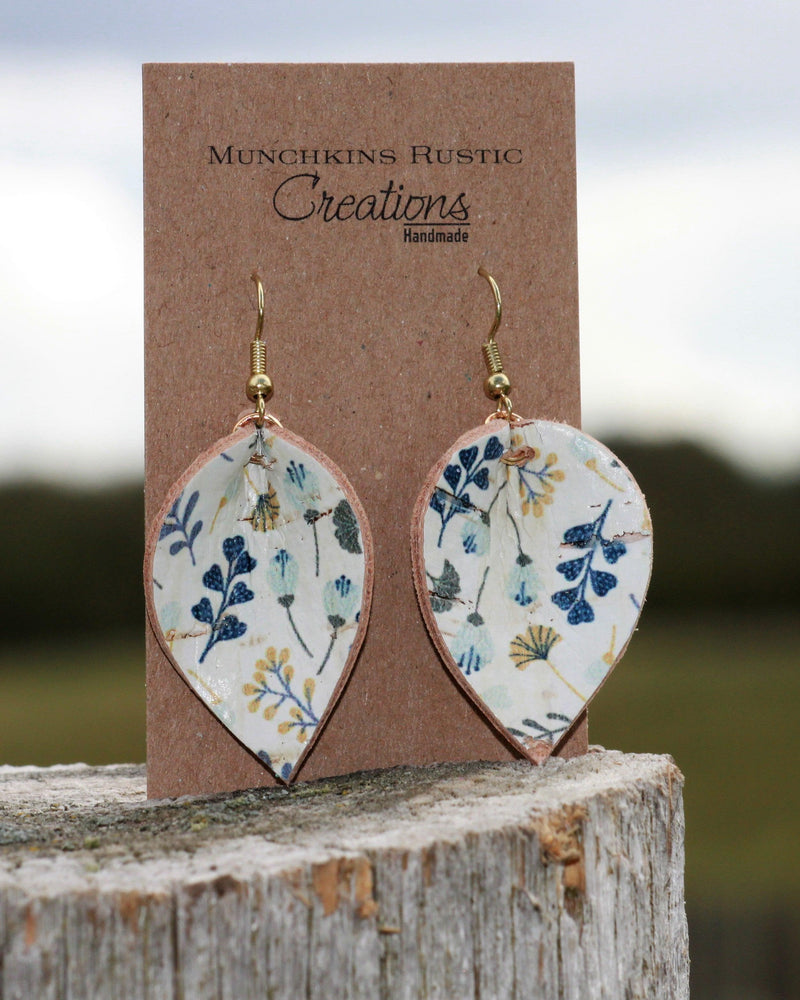 Mustard & Blue leather earrings