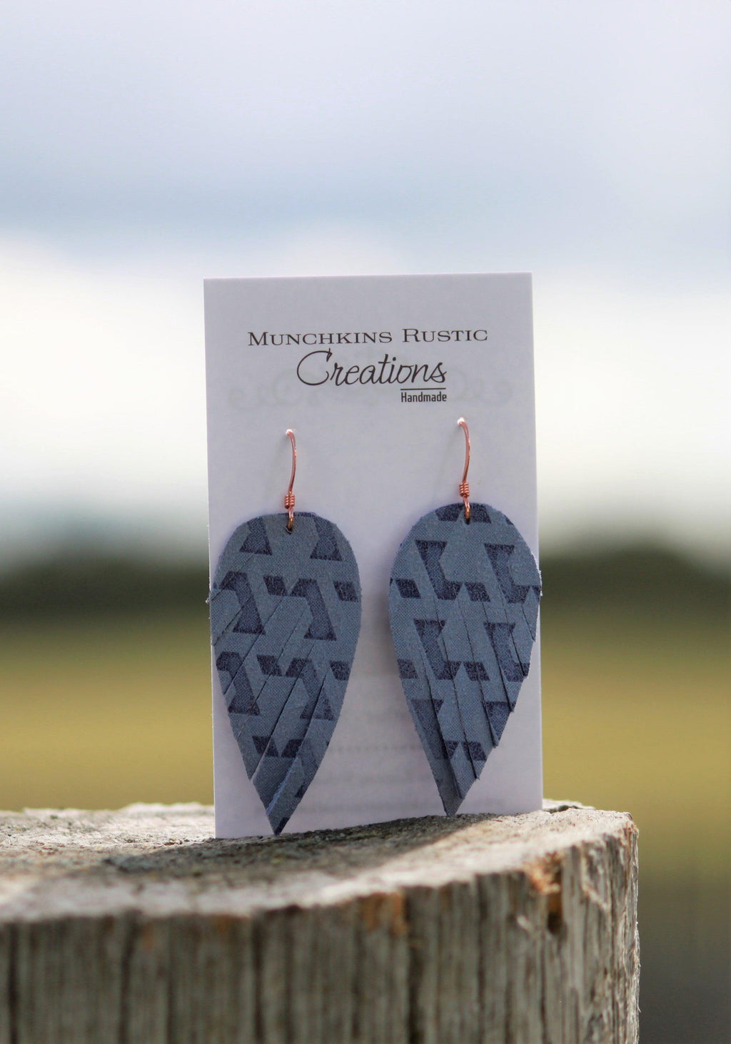Periwinkle leather earrings