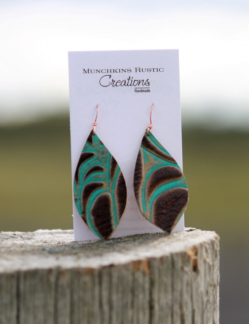 Turquoise and brown leather earrings