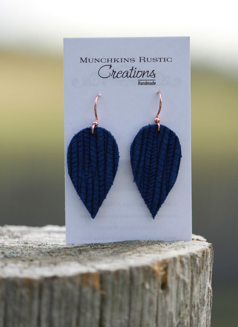 Navy leather earrings