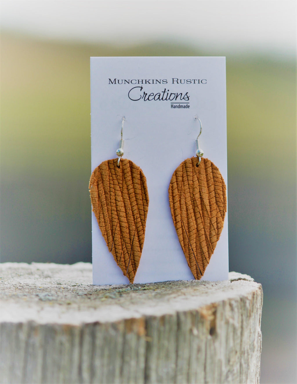 Genuine Leather mustard earrings