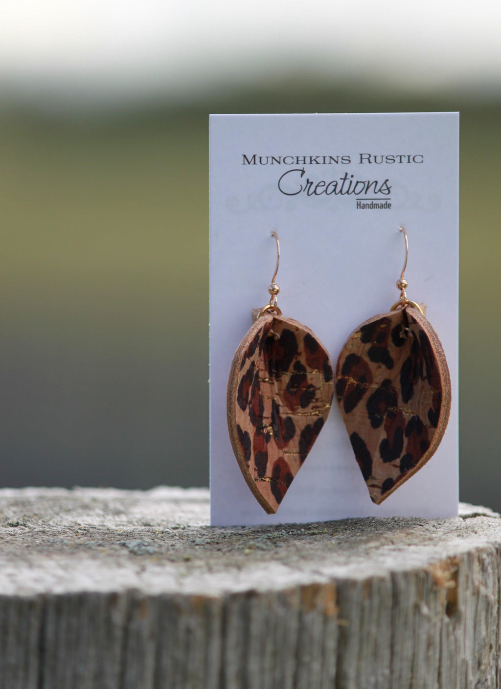Leopard print leather earrings