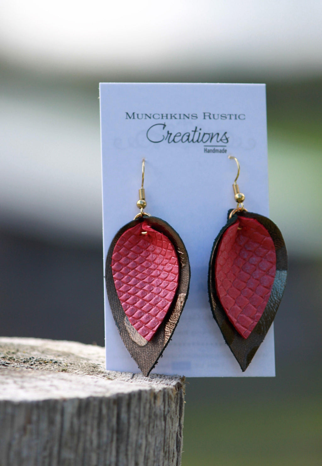 Layered pink and chocolate genuine leather earrings