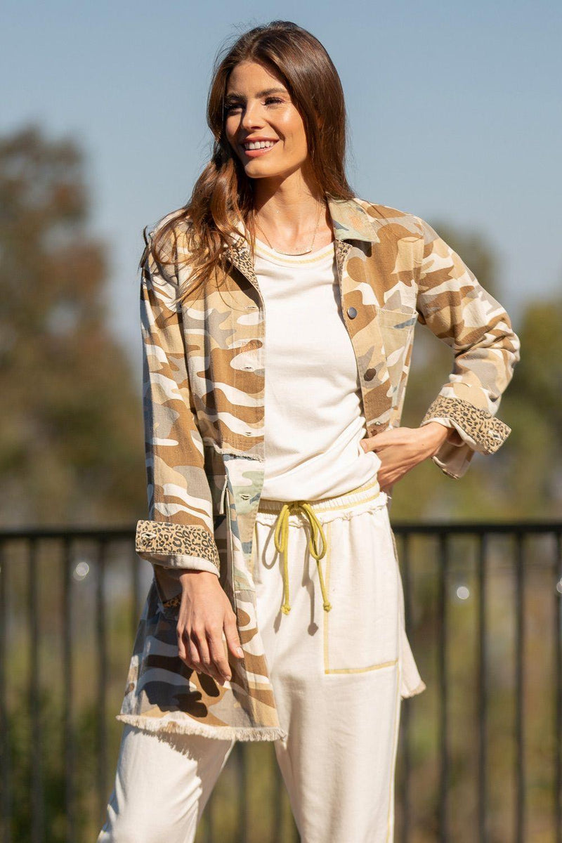 Mystree Taupe Camo Tiered Long Trucker Jacket
