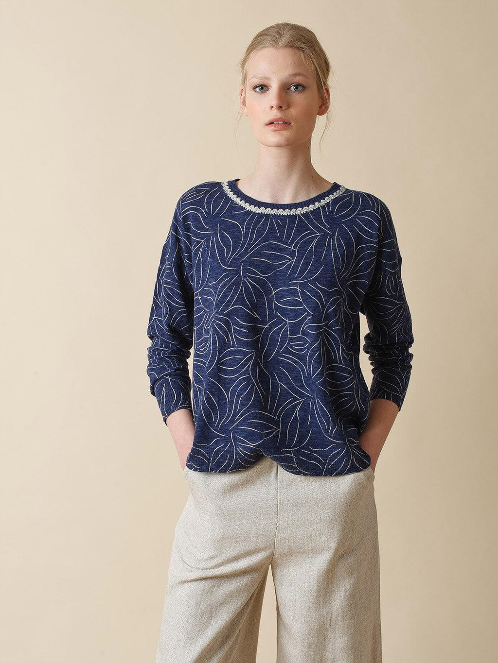Indi & Cold Marine Blue Multi Sweater