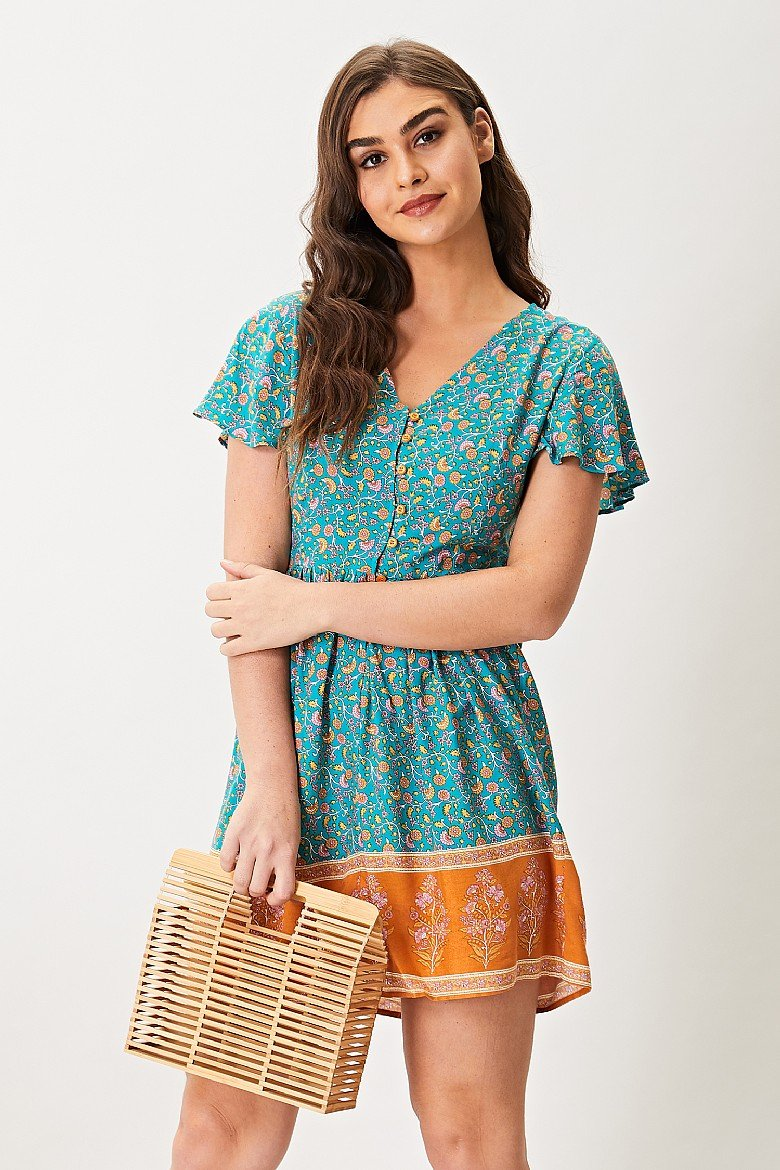 AngelEye Green Floral Print Short Sleeve Mini Dress