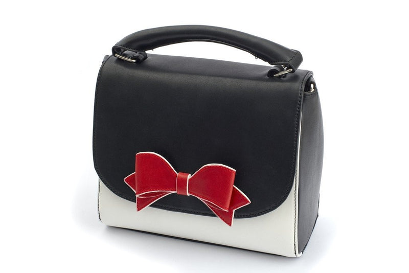 Lola black & cream bow handbag