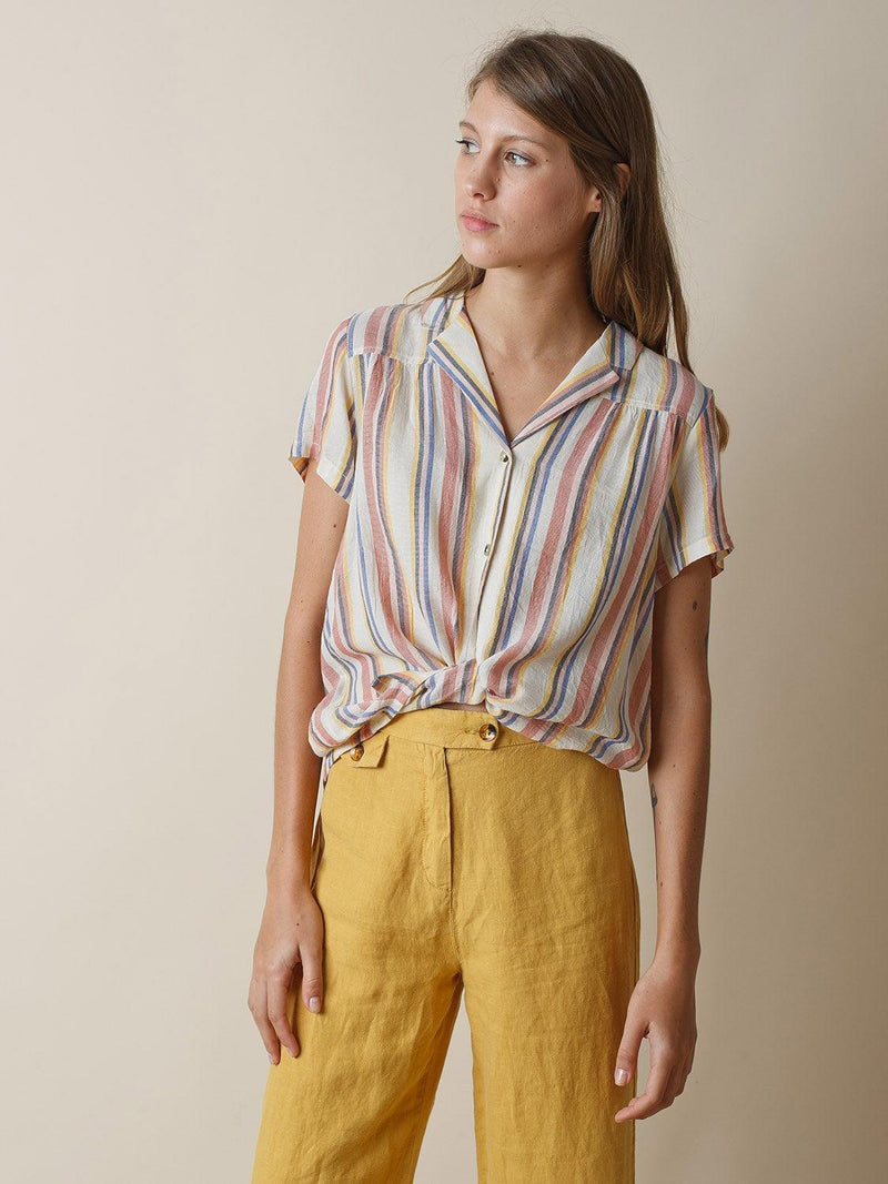 Indi & Cold terracotta striped shirt