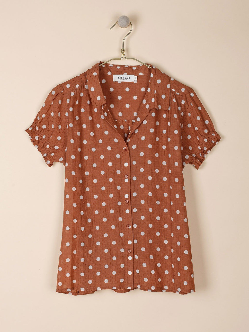 Indi & Cold dark tan polka dot shirt with ruffle sleeves