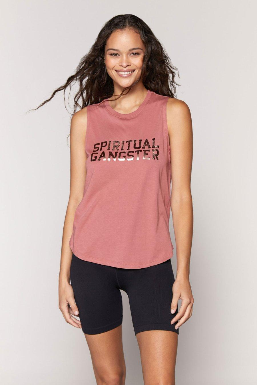 Spiritual Gangster Varsity Muscle Tank - Dried Rose