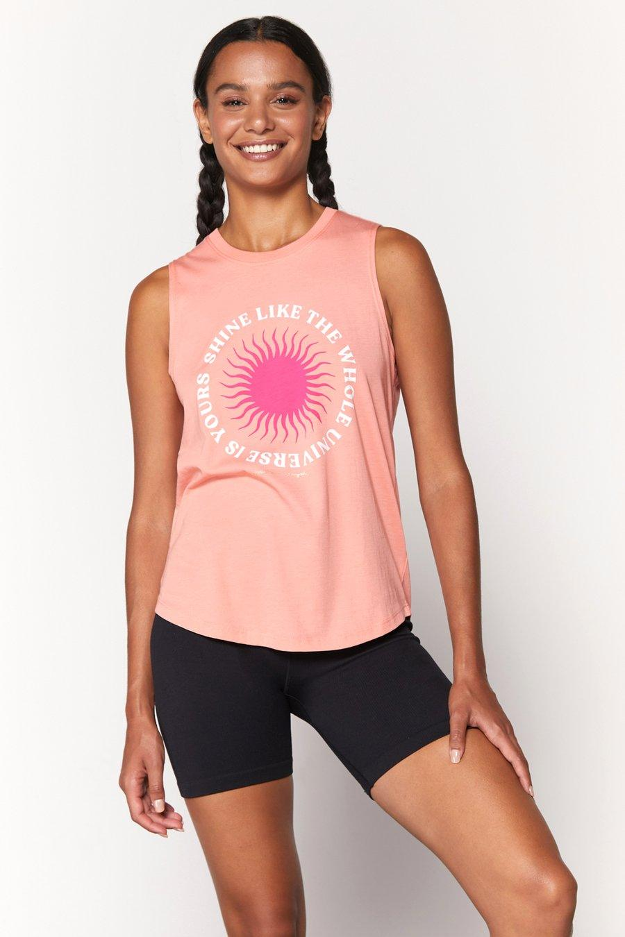 Spiritual Gangster Shine Muscle Tank - flamingo