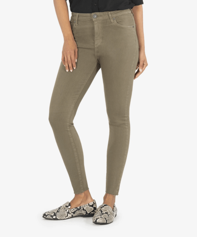 Kut From The Kloth Olive Donna High Rise Skinny Raw Hem Jeans