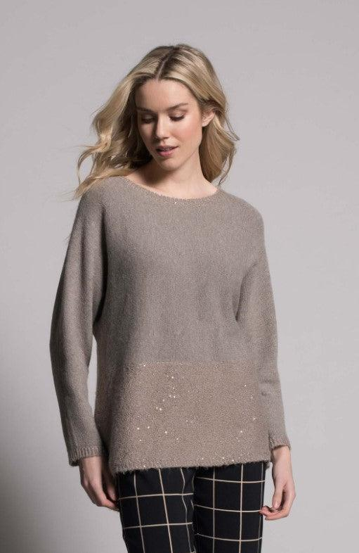 Picadilly sequin trim top with button and bow detail - rustic taupe