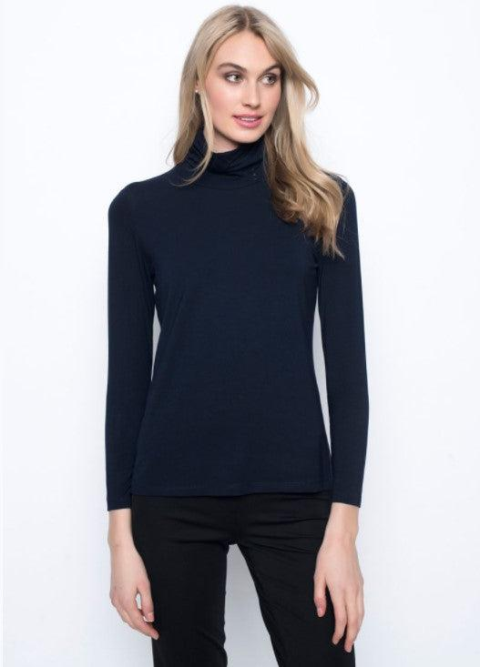 Picadilly Long Sleeve Turtle Neck Top - Deep Navy