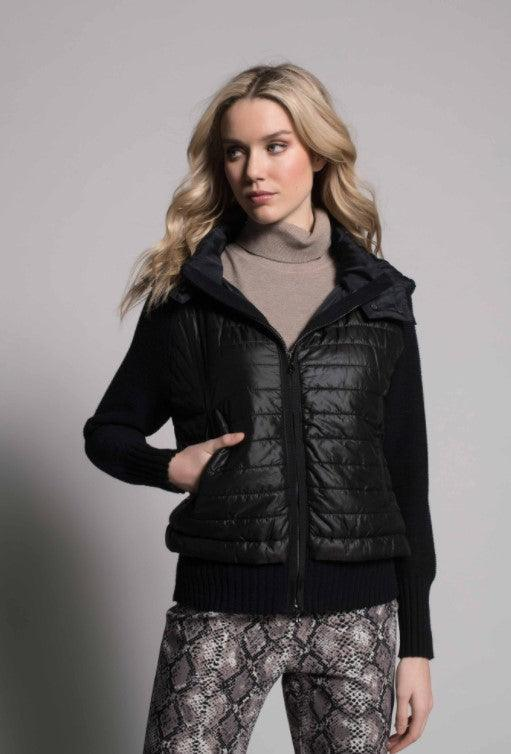 Picadilly quilted zip front hooded jacket - deep navy