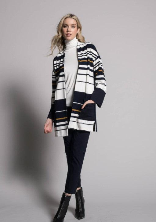 Picadilly Open Front Jacket With Pockets - Navy/White Multi