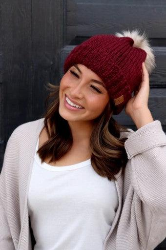 Wine fleece lined beanie with pom