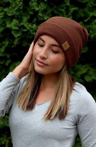 Brown fleece lined beanie