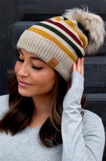 Fleece lined striped hat with pom. - Taupe