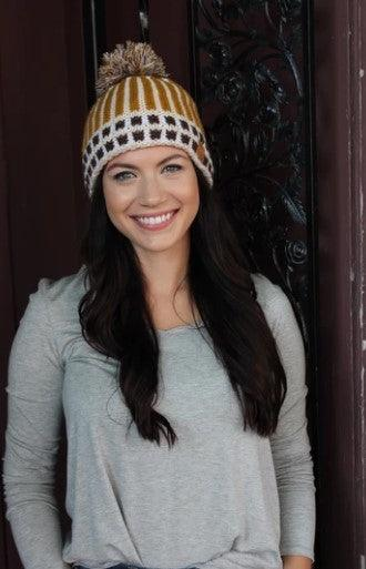 Mustard fleece lined knit hat with pom accent
