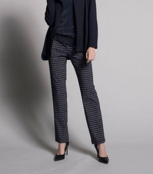 Picadilly Pull-On Straight Leg Pants - Navy/Off White