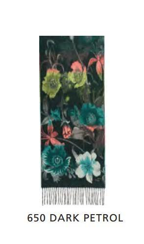 Cashmink Scarf with floral pattern - dark petrol