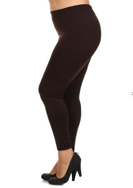 Plus Size Fleece Lined Leggings - Brown
