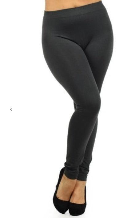 Plus Sized Fleece Lined Leggings - Charcoal