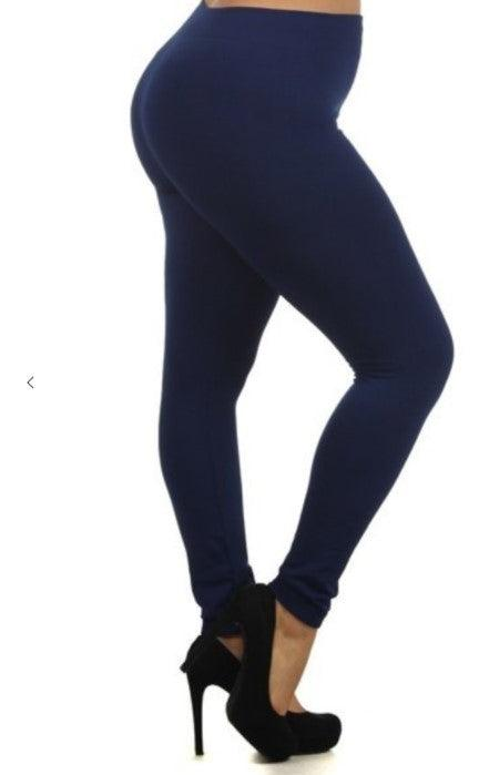 Plus Size Fleece Lined Leggings - Navy