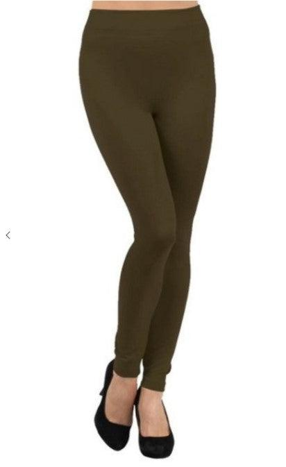 Plus Size Fleece Lined Leggings - Olive