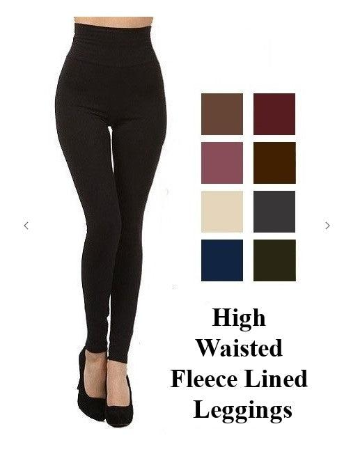 Fleece Lined leggings O/S- High Waisted - BURGUNDY