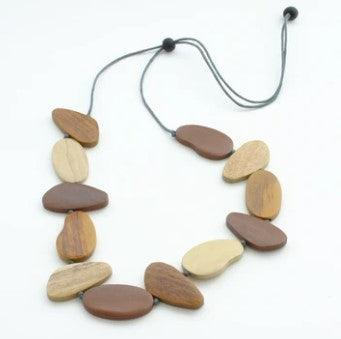 Mustard & Brown Tinted Wooden Pebble Necklace